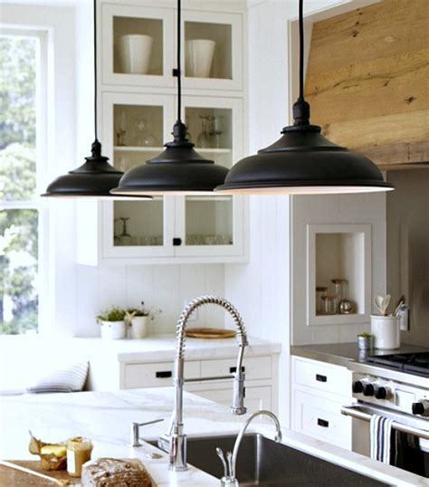Farmhouse Kitchen Island Lighting Absolutely Gorgeous The Black Pendant Lighting Matching The Rubbed Bronze Drawer