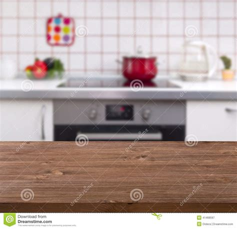 Kitchen Background by Wooden Table On Kitchen Bench Background Stock Image