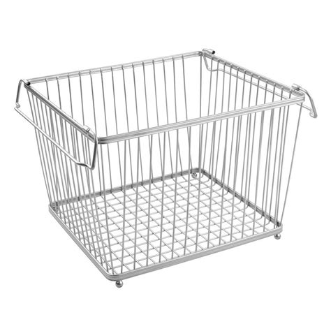 Wire Pantry Baskets by York Stackable Wire Pantry Basket Chrome In Wire Baskets