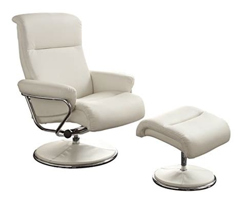 reclining swivel chair with ottoman homelegance 8550wht 1 swivel reclining chair with ottoman