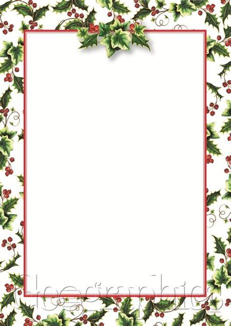 printable christmas cards a4 holly ivy christmas letterhead a4 48924 geographics