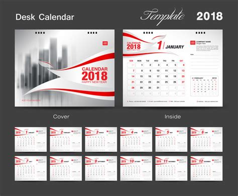 desk calendar template psd 2018 desk calendar 2018 template with cover vector 12