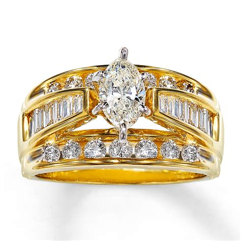engagement ring 2 ct tw marquise cut 14k