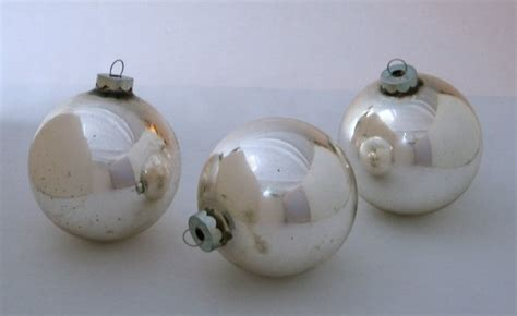 vintage silver glass globe christmas ornaments set of 3