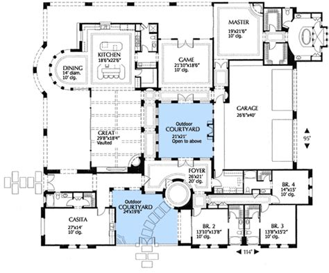 Courtyard Floor Plans Plan W16315md Mediterranean Villa With Two Courtyards E Architectural Design