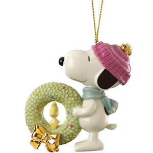 lenox peanuts snoopy s christmas wreath porcelain ornament