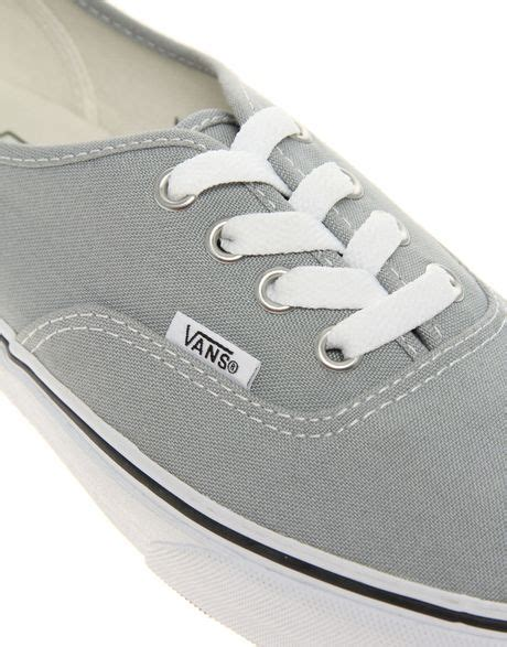 Vans Authentic Grey White vans authentic classic grey white lace up trainers in gray greywhite lyst