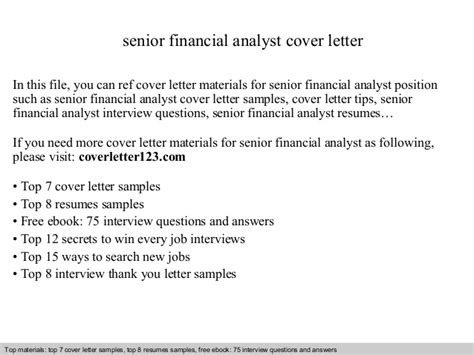 senior financial analyst cover letter senior financial analyst cover letter
