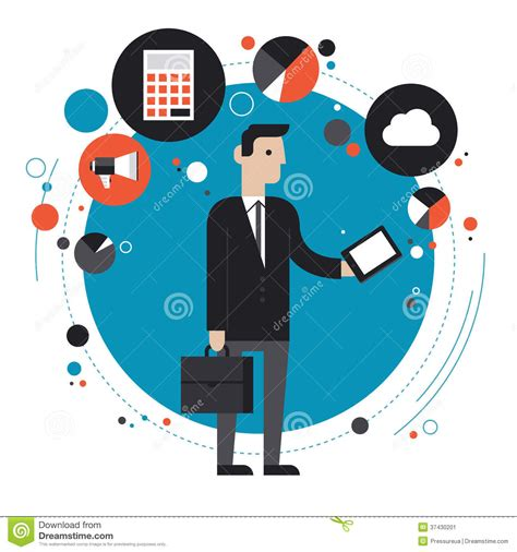 technology of business flat illustration concept stock