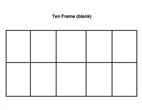 Ten Frame Template sle ten frame 5 documents in pdf