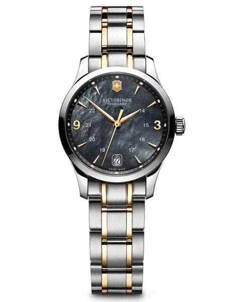Swiss Army 1164 Black Gold swiss army 100m alliance black of pearl gold tone ac princeton watches