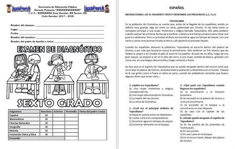 examen de ciencias naturales sexto grado bloque 2 examen de diagn 243 stico del sexto grado del ciclo escolar