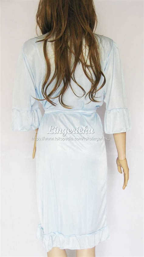 Baju Tidur Satin Biru jual baju tidur kimono satin elegan btk96 lingerieku
