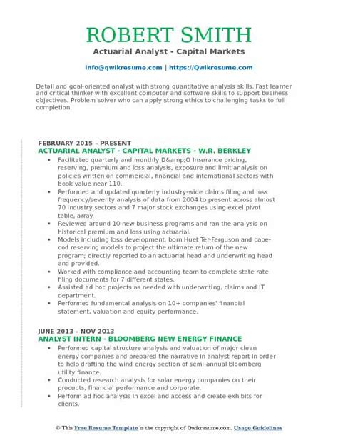 Capital Iq Questions For Mba Finance Pdf by Actuarial Analyst Resume Sles Qwikresume