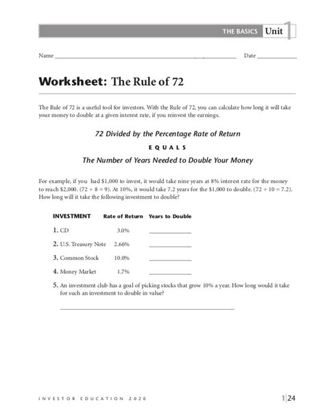 The Rule Of 72 Worksheet Answers by Basics Of Saving And Investing