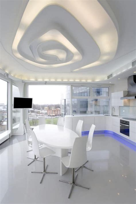 3d design kitchen suspended ceiling and windows futuristiс totally white apartment with panoramic windows