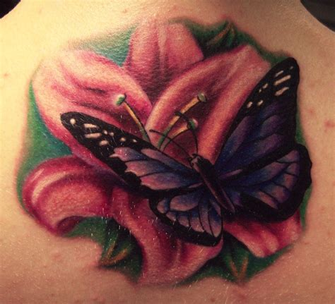 purple butterfly tattoo pink and purple butterfly
