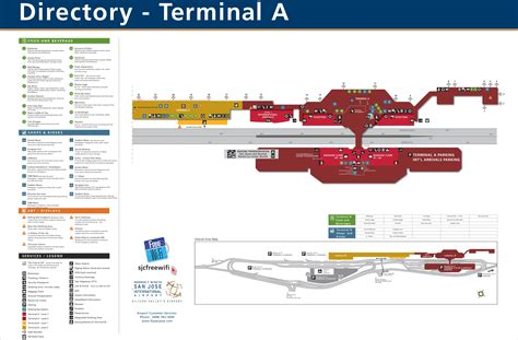 san jose international terminal map san jose airport terminal a map