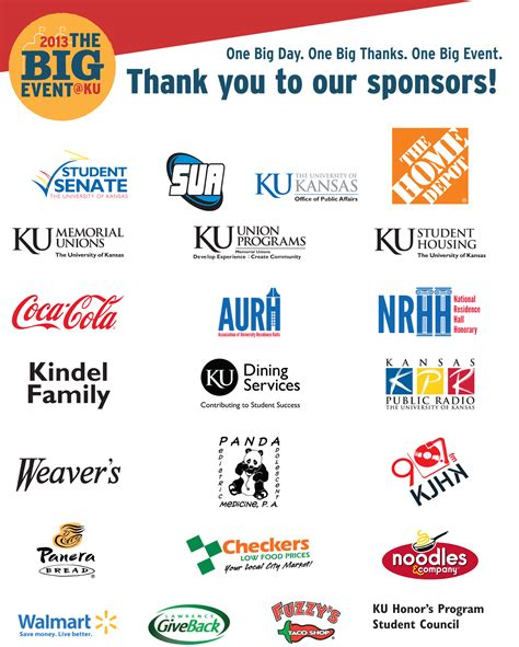 Thank You To Our Advertisers by Sponsors Thank You The Big Event At Ku April 27 2019