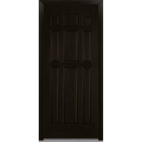 Prehung Exterior Doors Mmi Door 36 In X 80 In Severe Weather Left Outswing 9 Panel Classic Stained Fiberglass