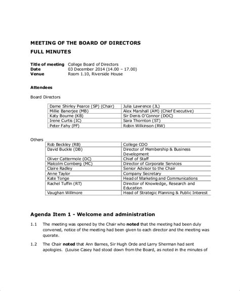 template of board meeting minutes 12 board of directors meeting agenda templates free