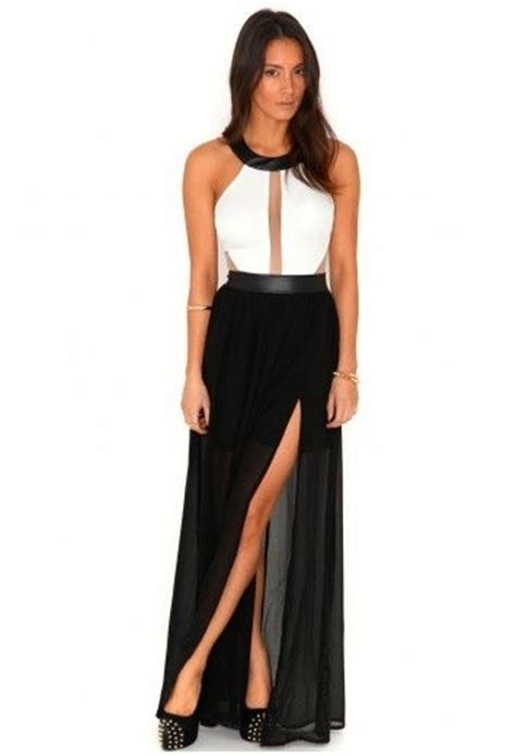 Sandal Laser Ab3 black white mesh panel cut out maxi slit evening dress