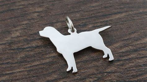 Handmade In Britain - labrador fullbody charm silhouette solid sterling silver