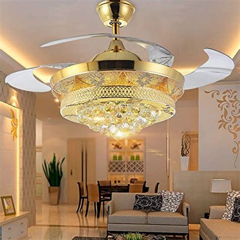 bedroom chandeliers with fans colorled modern crystal gold ceiling fan light kit for