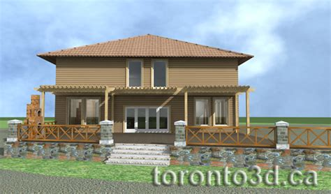 3d max studio archiitectural rendering exterior wood house