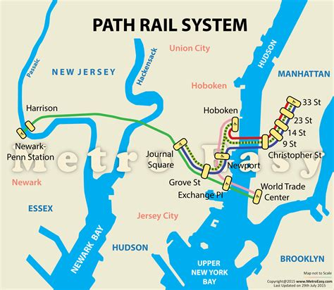 nj path map path port authority trans hudson map lines route hours tickets