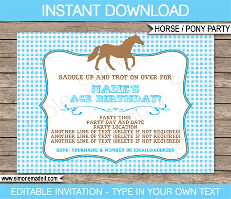 printable birthday invitations horse theme horse birthday party invitations pony party