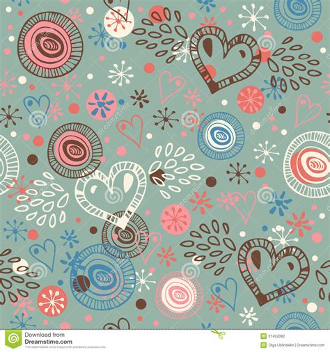 cute pattern material abstract doodle seamless background with hearts endless