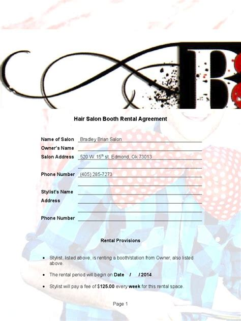 booth rental agreement   templates   word