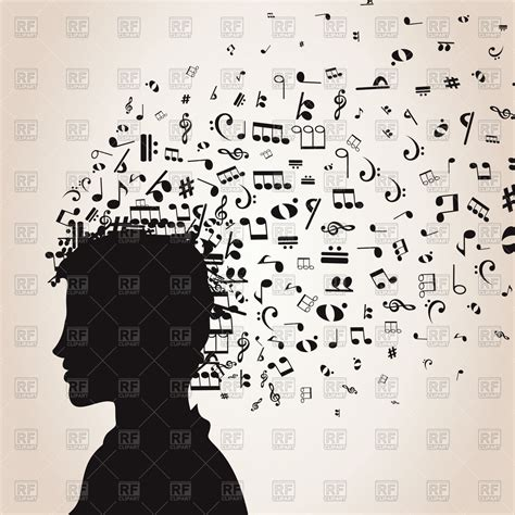 music note head silhouette musical notes from head of man royalty free vector clip