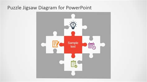 Free Flat Puzzle Jigsaw Powerpoint Diagram Slidemodel Jigsaw Template For Powerpoint