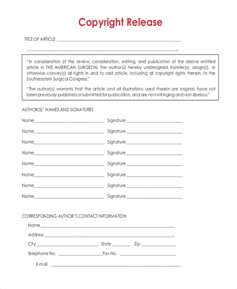 copyright release template sle release forms 22 free documents in word pdf