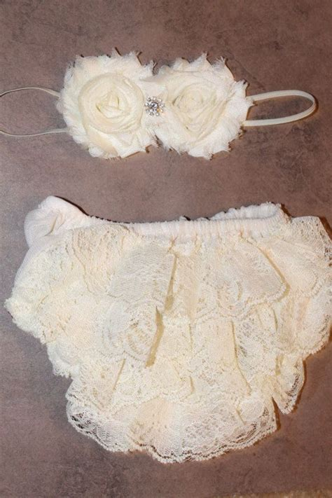 ivory cover for lace bloomers and headband vintage lace baby bloomer cover and headband set