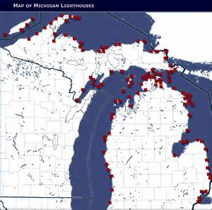 lighthouses map monday mashup spotting michigan lighthouses great lakes