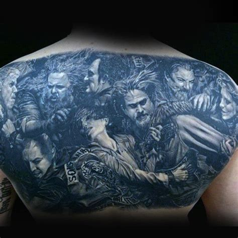 sons of anarchy back tattoo 70 biker tattoos for manly motorcycle ink design ideas