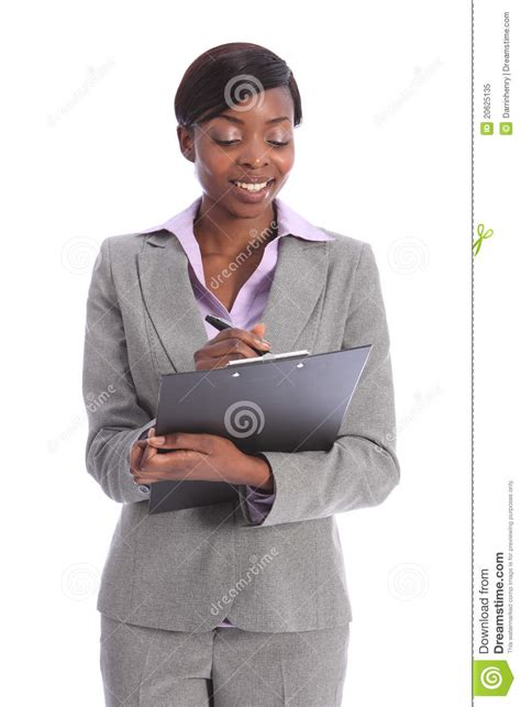 black african american business women beautiful young black business woman writing royalty free