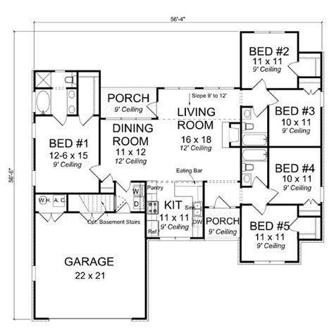 basement floor plans with stairs in middle 17 best images about houseplans 1600 1699 on pinterest
