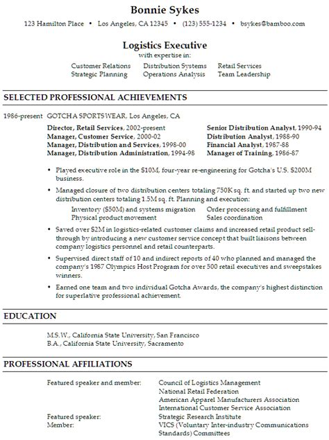 resume sle for a logistics executive susan ireland resumes
