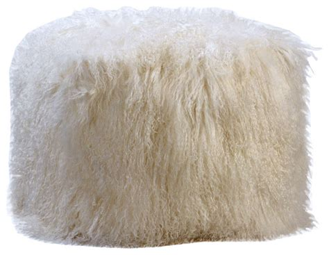 white fur ottoman white angora fur ottoman eclectic floor pillows and