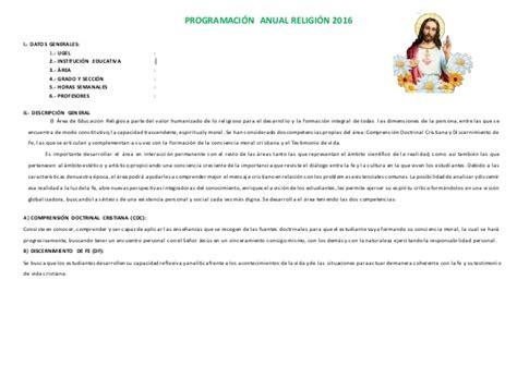 programacion anual 4to grado 2016 primaria sugerente programaci 211 n anual de religi 211 n