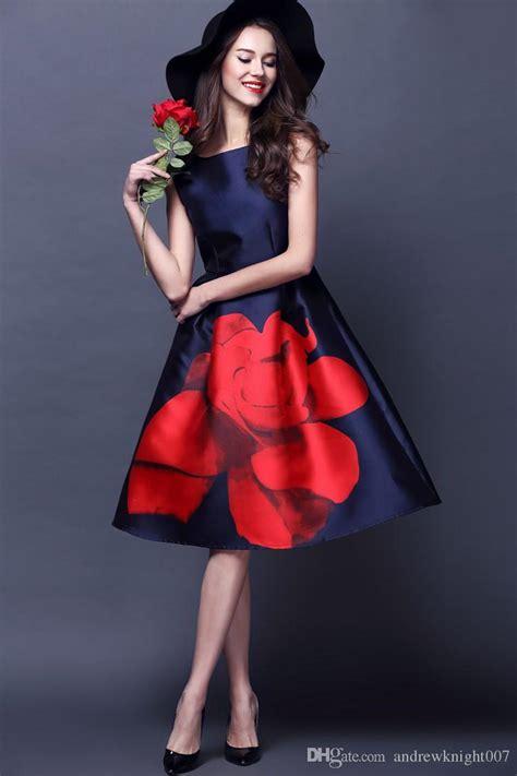 Darkblue Leisure Flower S M L Dress 2018 new designer womens dresses blue mid calf gown