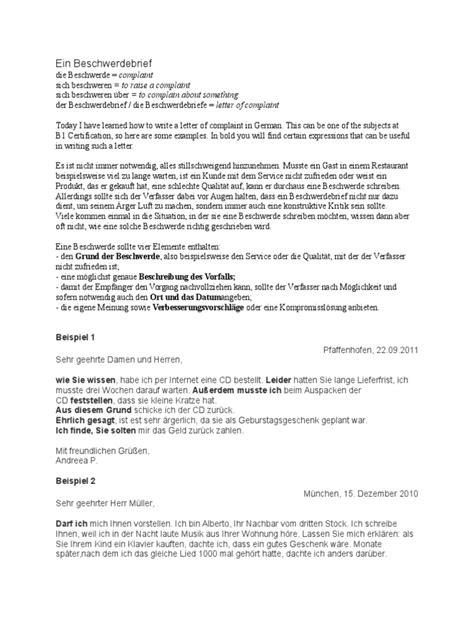 Beschwerdebrief Muster B2 Beschwerde Brief