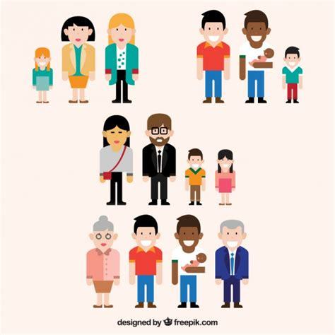 diversi tipi di diversi tipi di famiglie collection scaricare vettori gratis