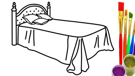 how to draw the bed coloring pages for kids youtube