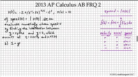 sle questions for calculus ab section 1 2013 ap calculus ab frq 2 youtube