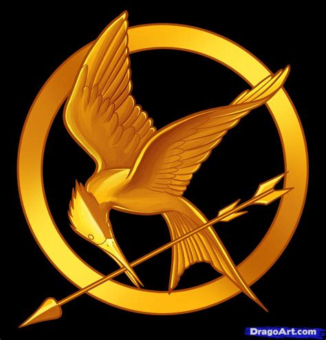 how to draw hunger games the hunger games logo step by step symbols pop culture free online